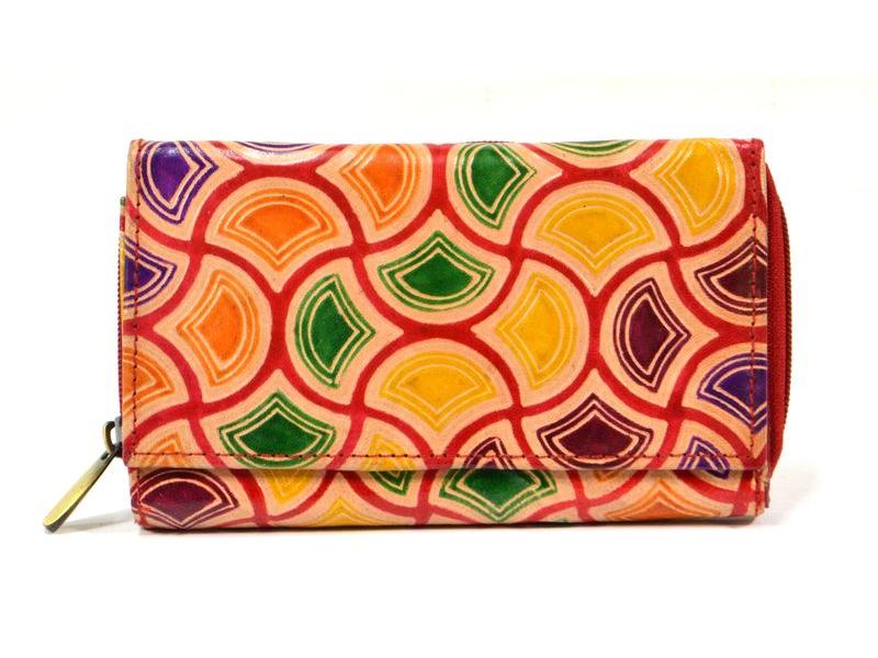Peněženka zapínaná na zip, červená, vitráž design, malovaná kůže, 17x11cm