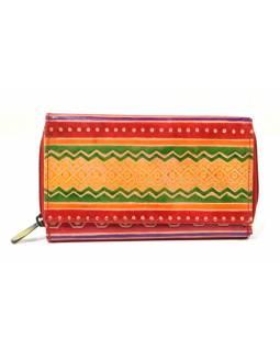 Peněženka zapínaná na zip, červená, pruhy, malovaná kůže, 17x11cm