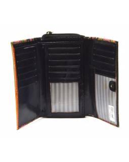 Peněženka zapínaná na zip, černá, pruhy, malovaná kůže, 17x11cm