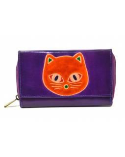 Peněženka zapínaná na zip, fialová, kočka, malovaná kůže, 17x11cm