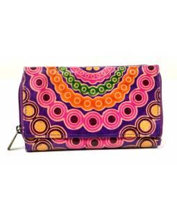 Peněženka zapínaná na zip, fialová, mandala, malovaná kůže, 17x11cm