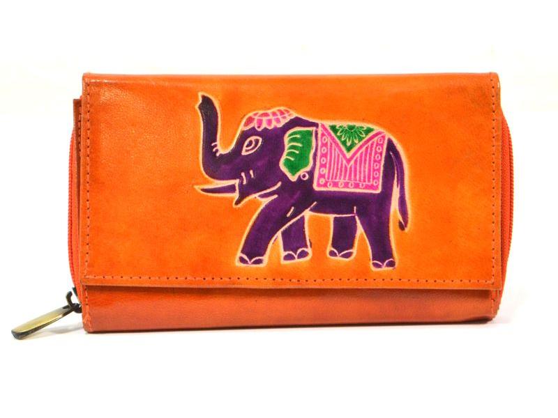 Peněženka zapínaná na zip, oranžová, slon, malovaná kůže, 17x11cm