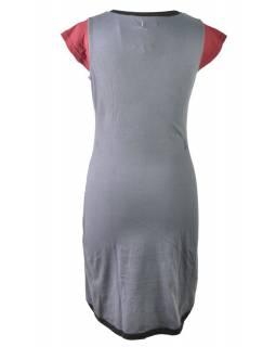 Šedo-vínové šaty s potiskem a krátkým rukávem, mix potisků