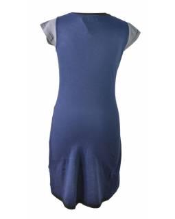 Modro-tyrkysové šaty s potiskem a krátkým rukávem, mix potisků