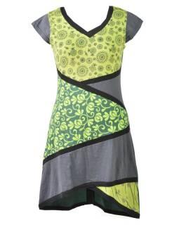 Šedo-zelené šaty s potiskem a krátkým rukávem, mix potisků