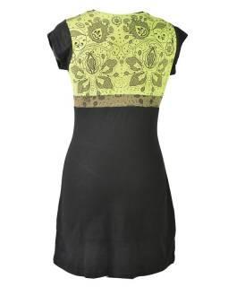 Černo zelená šaty s krátkým rukávem, mix potisků, Shiva Óm design