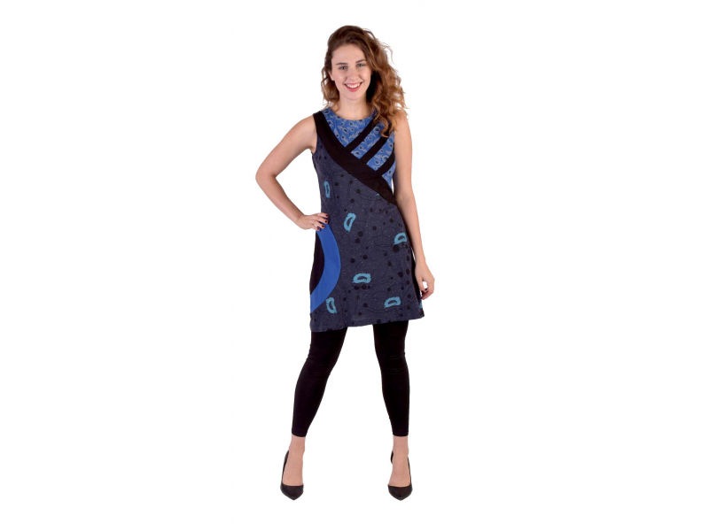Modré šaty bez rukávu, Natural Peacock design, potisk