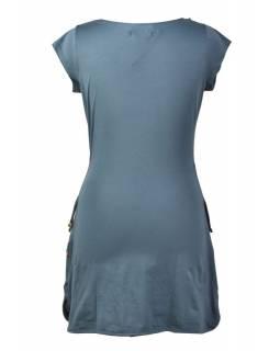 "Šedé šaty s ""vodou"", krátký rukáv,  barevný potisk, bio bavlna"