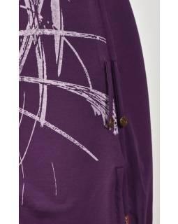 "Fialové šaty s ""vodou"", krátký rukáv,  barevný potisk, bio bavlna"
