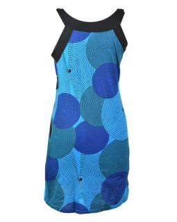 Krátké modré šaty na ramínka s potiskem, modrá kola