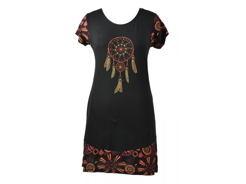 Krátké černé šaty s potiskem lapače snů, výšivka