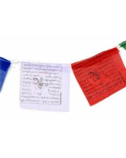 Tibetské modlitební praporky na šňůře 80cm, 10 praporků, 8x7cm