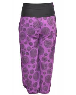 Fialové kalhoty s vysokým pasem, potisk, výšivka