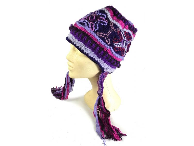 Čepice, fialová, výšivka, podšívka, třásně