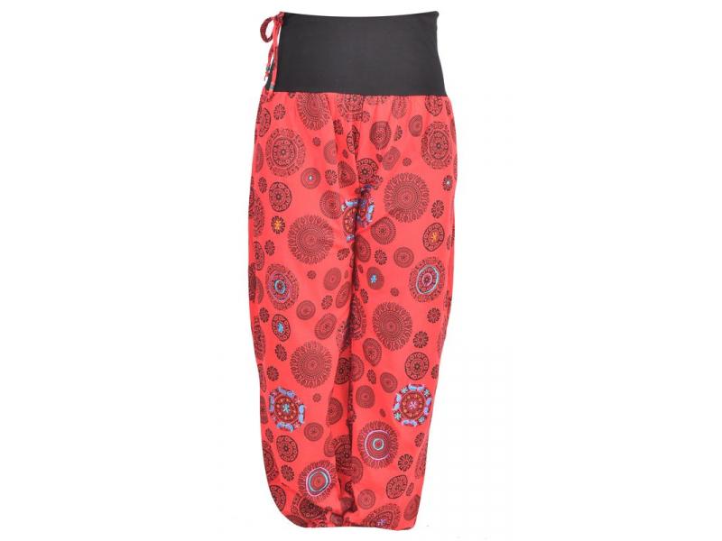 Červené kalhoty s vysokým pasem, potisk, výšivka