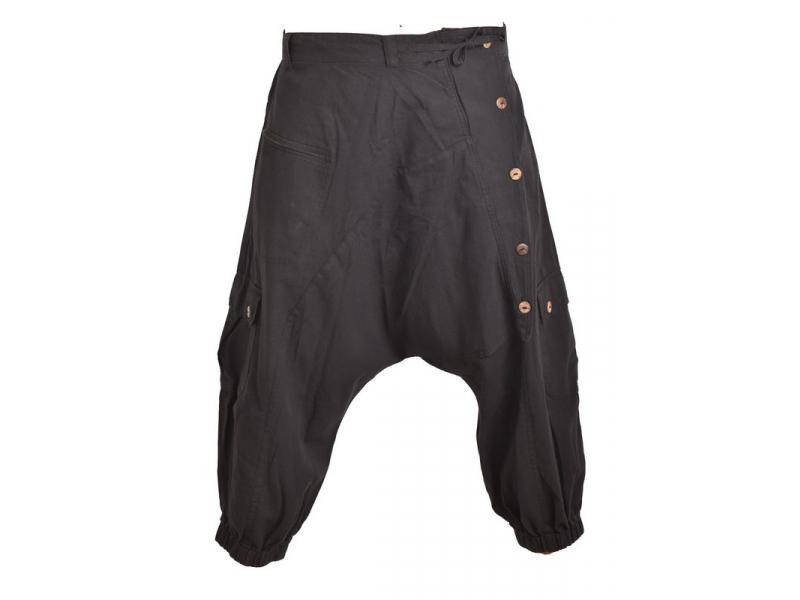 Černé turecké kalhoty s kapsami, šňůrky a guma v pase