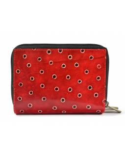 """Peněženka design """"Two Cats"""", ručně malovaná kůže, červená, 15x10cm"""