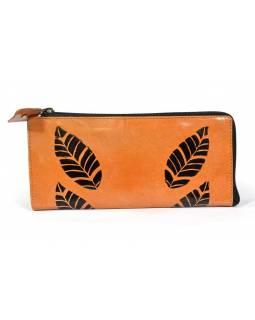 """Velká peněženka design """"Simple Leaf"""",ručně malovaná kůže, hnědá, 21x10,5cm"""