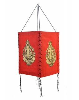 Stínidlo, čtyřboké, červené, zlatý tisk, Ganeša, 18x25cm
