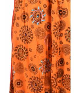Oranžové turecké kalhoty s potiskem paisley, výšivka