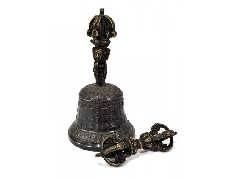 Tibetský zvon a dorje,bronzová barva, ornament, 18cm