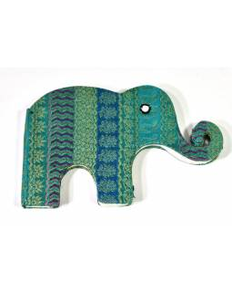 Notýsek ve tvaru slona, tyrkysovo-zelený brokát, 19x12cm