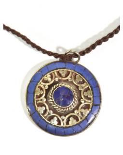 Náhrdelník s kulatým přívěskem vykládaným Lapis Lazuli, kožený provázek 23-26cm