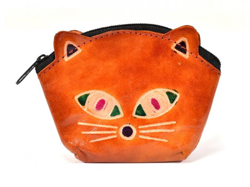Peněženka na drobné, hnědá, malovaná kůže, kočičí hlava, 10x8cm