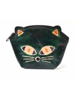 Peněženka na drobné, tmavě zelená, malovaná kůže, kočičí hlava, 10x8cm