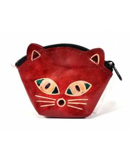 Peněženka na drobné, červená, malovaná kůže, kočičí hlava, 10x8cm