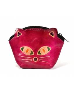 Peněženka na drobné, růžová, malovaná kůže, kočičí hlava, 10x8cm