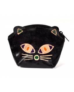 Peněženka na drobné, černá, malovaná kůže, kočičí hlava, 10x8cm