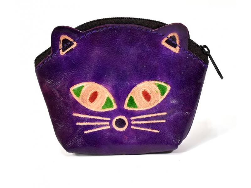 Peněženka na drobné, fialová, malovaná kůže, kočičí hlava, 10x8cm