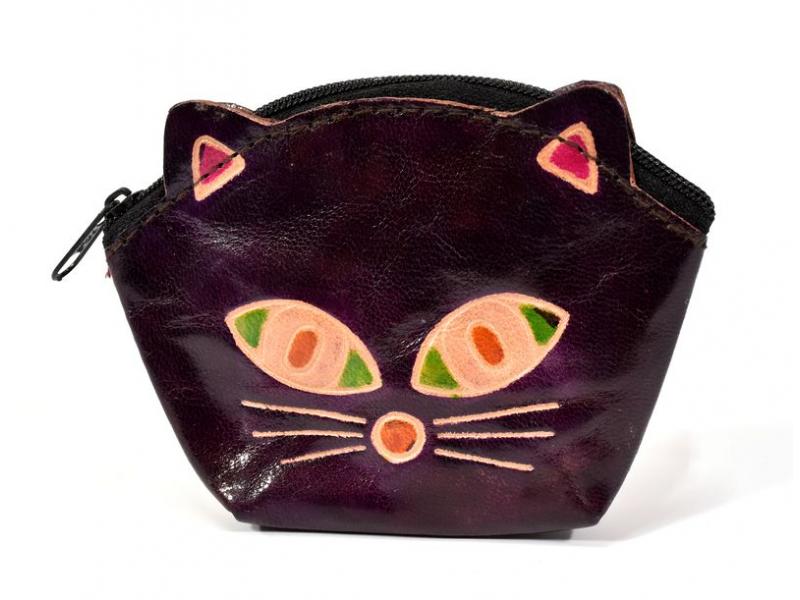 Peněženka na drobné, vínová, malovaná kůže, kočičí hlava, 10x8cm