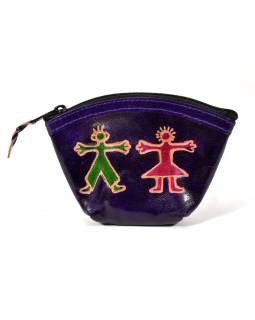 """Peněženka na drobné, fialová  """"Boy and Girl"""", ručně malovaná kůže,12x9cm"""