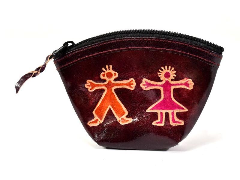 """Peněženka na drobné, vínová """"Boy and Girl"""", ručně malovaná kůže,12x9cm"""