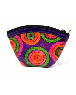 """Peněženka na drobné, fialová """"Mandala design"""", ručně malovaná kůže,12x9cm"""