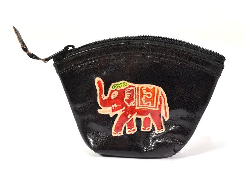 Peněženka na drobné, černá, Slon ručně malovaná kůže,12x9cm