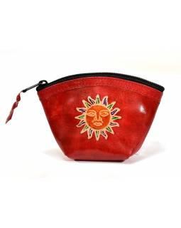 Peněženka na drobné, červená, Slunce, ručně malovaná kůže,12x9cm