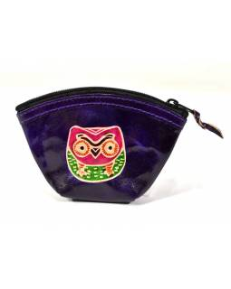 Peněženka na drobné, fialová, Sova, ručně malovaná kůže,12x9cm
