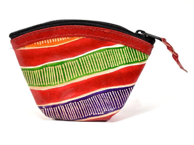 Peněženka na drobné, červená, pruhy ručně malovaná kůže,12x9cm
