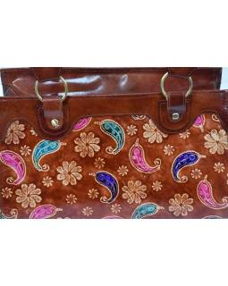 """Kožená kabelka, hnědá """"Vintage style"""", ručně malovaná kůže, 30x15x20+28cm uši"""