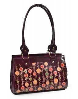 """Kožená kabelka, vínová """"Vintage style"""", ručně malovaná kůže, 30x15x20+28cm uši"""