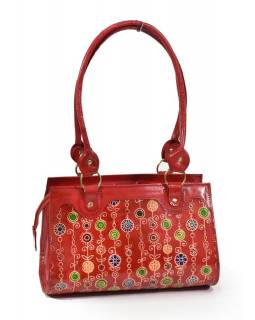 """Kožená kabelka, červená """"Vintage style"""", ručně malovaná kůže, 30x15x20+28cm uši"""
