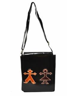 """Kožená kabelka černá """"Boy and Girl"""" Crossbody bag, ručně malovaná kůže, 29x6x23"""