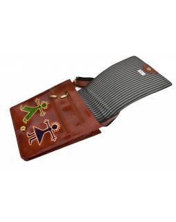 """Kožená kabelka hnědá """"Boy and Girl"""" Crossbody bag, ručně malovaná kůže, 29x6x23"""