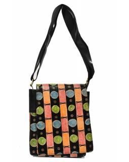 """Kožená kabelka černá """"Circles"""" Crossbody bag, ručně malovaná kůže, 29x6x23"""