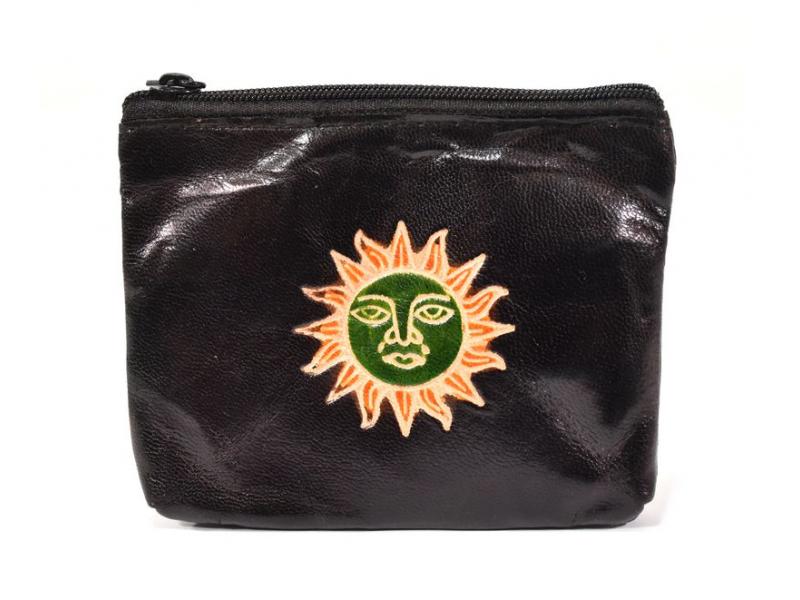 Peněženka na drobné, černá, slunce ručně malovaná kůže, 10,5x8,5 cm