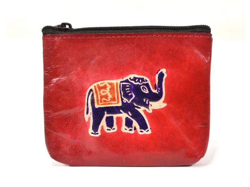 Peněženka na drobné, červená, slon ručně malovaná kůže, 10,5x8,5 cm
