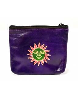 Peněženka na drobné, fialová, slunce ručně malovaná kůže, 10,5x8,5 cm